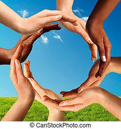 multiracial, confection, cercle, ensemble, mains