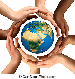 multiracial, entourer, globe, la terre, mains