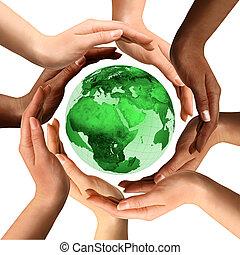 multiracial, globe terre, autour de, mains