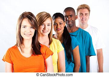 multiracial, jeunes, groupe