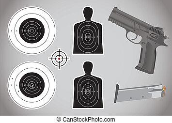 munitions, fusil, -, cibles, illustration