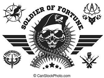 munitions, vecteur, forces, wings., emblème, crâne, spécial