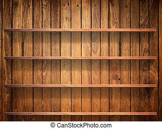 mur, étagère, bois