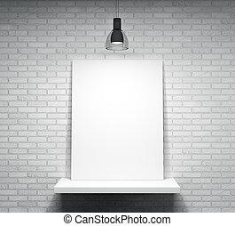 mur, affiche, sur, brique, étagère