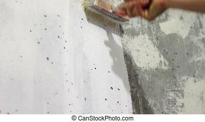 mur, béton, blanc, brush., peinture