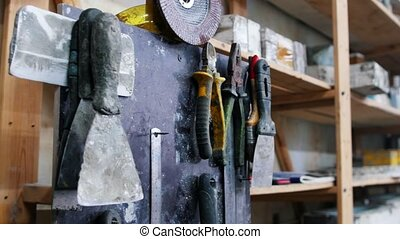 mur, béton, -, outils, beaucoup, atelier