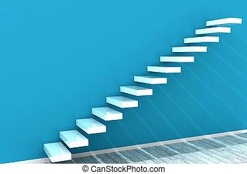 mur blanc, étapes, bleu
