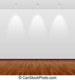 mur, blanc, bois, salle, vide