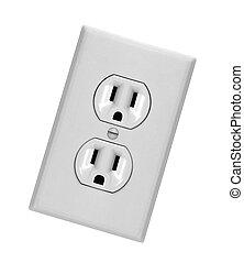 mur, blanc, réceptacle, sortie électrique