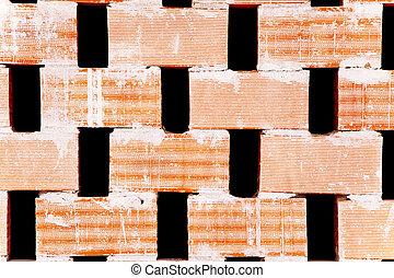 mur, brique, flux air, trous, cloison