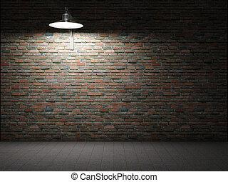 mur, brique, sale, éclairé