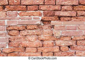 mur brique, texture, fond, vieux