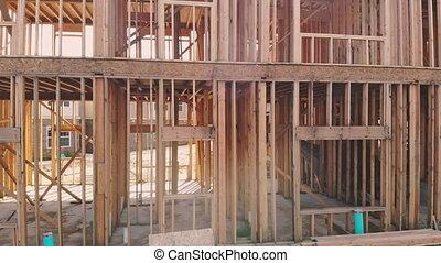 mur, construction, encadrement, intérieur maison, nouveau, rénovation