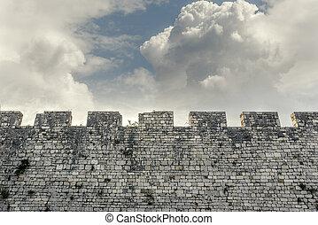 mur, contraster, pierre, château, sky.
