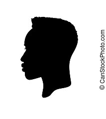 mur, .drawing, profil, africaine, afro, coiffure, vecteur, américain, cheveux, noir, bouclé, figure, silhouette, mâle, .vinyl, autocollant, isolé, blanc, .cameo.print., tête humaine, décalcomanie, portrait