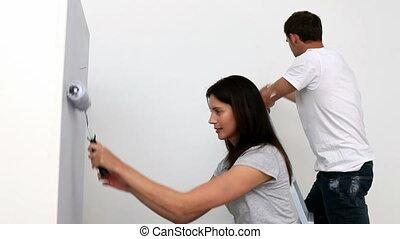 mur, femme, peinture, heureux