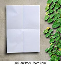 mur, fixation, arbre, ciment, arrière-plan., papier, vide, escalade, blanc, lierre
