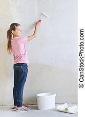 mur, girl, peinture