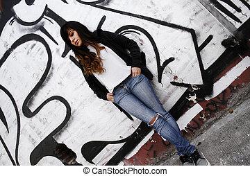 mur, girl, penchant