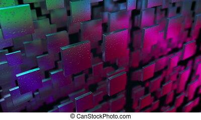 mur, gouttes pluie, blocs, iridescent