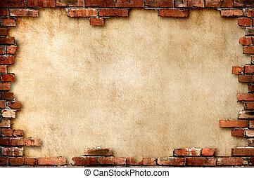 mur, grungy, brique, cadre