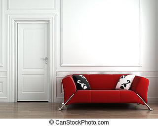 mur, intérieur, blanc rouge, divan