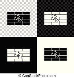 mur, isolé, illustration, truelle, arrière-plan., vecteur, noir, brique, blanc, transparent, icône
