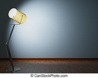 mur, lampe, illumine, plancher