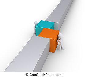 mur, ligne, joindre, deux personnes