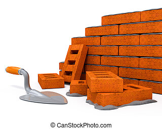 mur, maison, brique, construction, nouveau