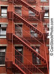 mur, maison, en ville, brûler, york, nouveau, escalier