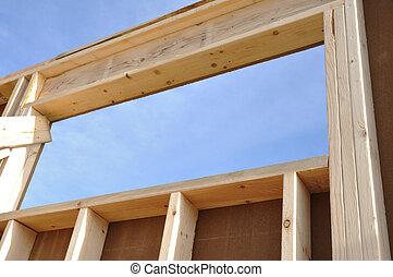 mur, maison, fenêtre, site construction