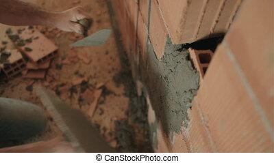 mur, manuel, outillage, ouvrier, closeup, tenant mains, brique