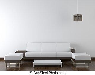 mur, moderne, conception, intérieur, blanc, meubles