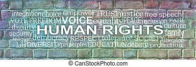 mur, nuage, mots, brique, associé, droits, humain, mot