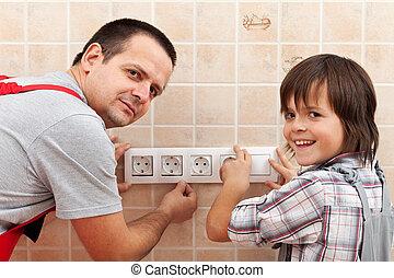 mur, père, installation, fils, électrique, accessoires