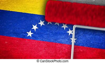 mur, peinture, drapeau, venezuela