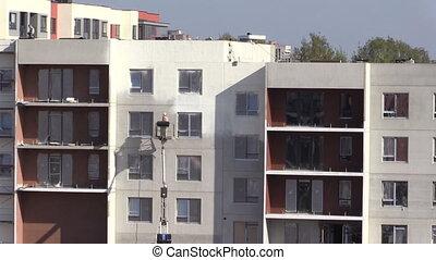 mur, peinture, ouvrier, maison