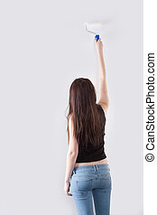 mur, peintures, girl