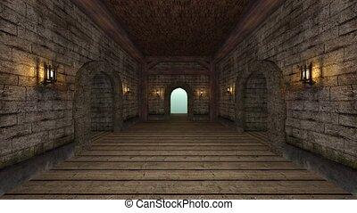 mur, pierre, couloir