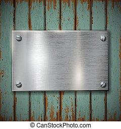 mur, plaque, métal, bois