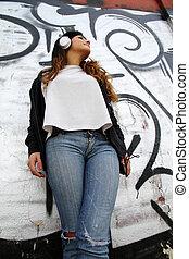 mur, quoique, musique écouter, penchant, girl