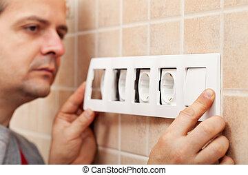 mur, rencontre, fini, électricien, installation