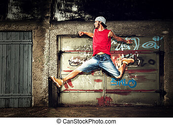 mur, sauter, grunge, jeune homme