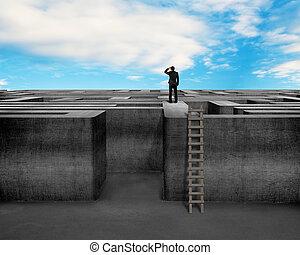 mur, sommet, béton, labyrinthe, homme affaires, fixer, échelle