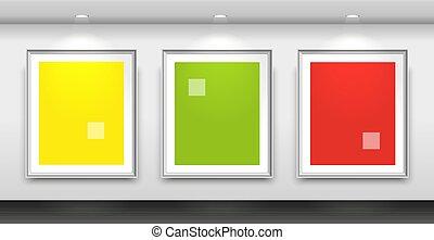 mur, trois, intérieur, vide, cadres, blanc, galerie