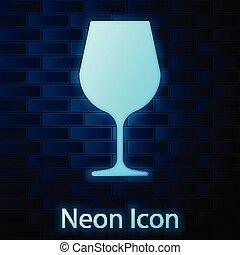 mur verre, néon, signe., verre vin, isolé, illustration, arrière-plan., incandescent, vecteur, brique, icône, vin