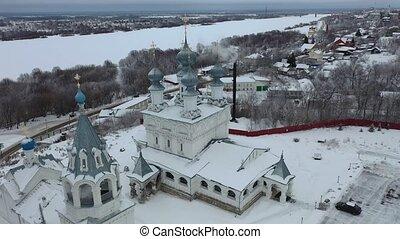 murom, hiver, architectural, aérien, complexe, monastère, ville, panoramique, jour, vue, résurrection, russe