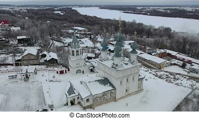 murom, hiver, monastère, panoramique, russe, jour, vue, complexe, résurrection, aérien, ville, architectural