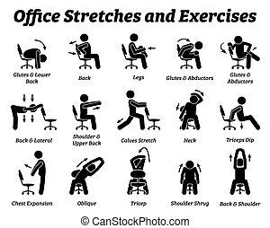 muscle., relâcher, étire, exercices, fonctionnement, tension, bureau